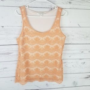 ⚡Banana Republic Orange Lace Sleeveless Blouse Med